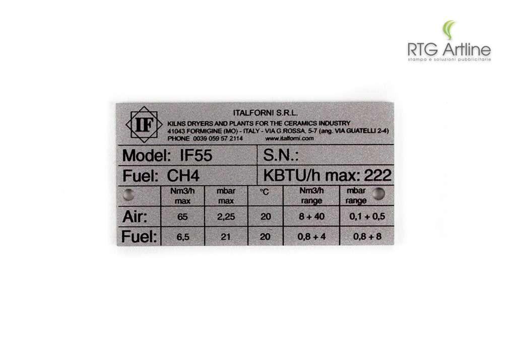 targhette personalizzate alluminio metallo rtg laser